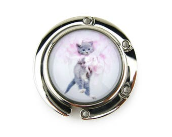 Purse Hanger, Purse Hook, Purse Holder, Folding, Photo, Magnetic, Glass, Kitten, Kitty, Cat, Gray, Pink, Cat Lover, Cat Gift