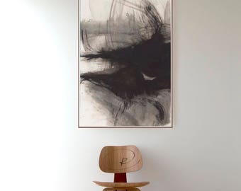 Storm, Large abstract art, large wall art,modern ink art, original abstract art, minimalist art, black and white abstract art, ink painting