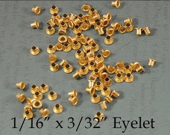 """Genuine Brass Eyelets - 1/16"""" x 3/32"""" - for EZ Rivet Tool System - 100 pieces"""