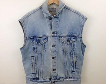 Vintage USA Levi's Denim Trucker Jean Jacket Cutoff - Size Small / Medium