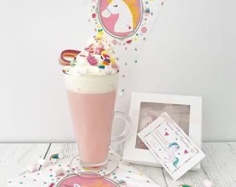 Unicorn Hot Chocolate Kit - DIY Kit - Unicorn Party Bag Favour - Unicorn Lovers Gift - Foodie Gift - Christmas Eve Box Filler