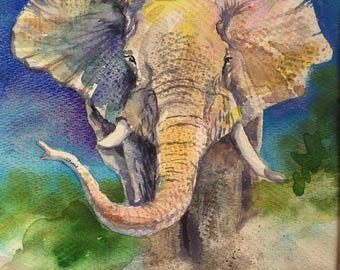 Elephant Painting, Elephant Watercolor Painting,  Watercolor on Paper Original Painting, Matted 11 x 14, Colorful Animal Art, Spirit Animal