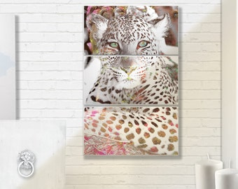 Gold and Pink Cheetah Canvas triptych ready to hang canvas or ready to frame prints wall decor - feminine subtle and beautiful