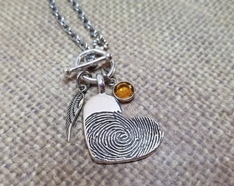 Ink-TOGGLE style chain charm necklace with 1 MEDIUM Fingerprint charm+angel wing+birthstone- in SOLID .999 fine silver