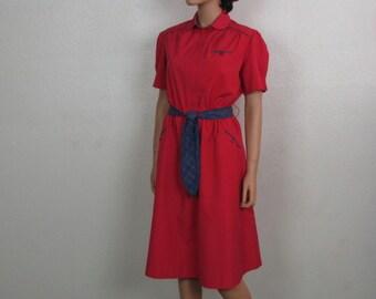 Vintage ~ Red Crisp Cotton Dress ~ A-line Shift ~ Blue Plaid Trim ~ Sash Tie ~ Short Sleeves ~ Elastic Waist ~ Short Sleeves ~ Medium