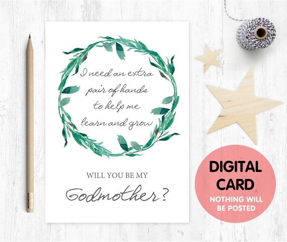 PRINTABLE will you be my godmother card, godmother card, printable godmother card, godmother poem proposal i need an extra pair of hands