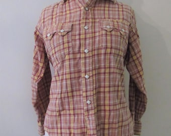 60s Tru-West Rockmount Ranch Wear For Ships Plaid Cotton Flannel Western Shirt w/ Diamond Buttons, XS-S // 60s Plaid Cowgirl Shirt