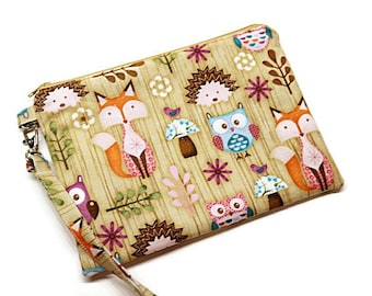 Woodland animals zippered wristlet purse. iPhone wallet. Foxes hedgehogs owls and mushrooms!