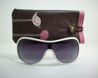 Eyeglass case in brown with pink and cream birds