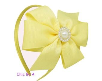 Headband,Yellow Headband,Beige,Pink,Green,Hairbands With Pearl For Children,Hair Band, Pinwheel With Pearl For Children,