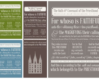 Oath & Covenant of the Priesthood - Subway Art - Instant Download