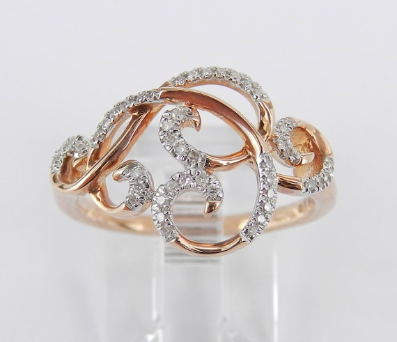 Rose Gold Diamond Cocktail Ring Anniversary Band Modern Scroll Design Size 7