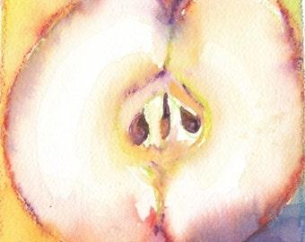 Appel half. Original watercolour and crayon.