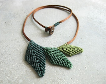 Green Leaf Necklace Micro Macrame Jewelry . Botanical Elven Natural Woodland Boho Hippie Chic Organic . Design by raiz