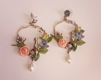 Polymer clay earrings,vintage style, flower earrings,bird and flowers, dangle earnings, pastel color earrings,  antic bronze