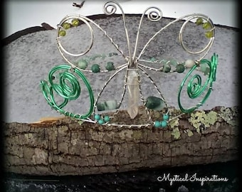 Butterfly Dreams Headpiece Unique Headdress Crown Tiara in Green