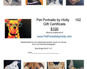 Pet Painting Custom, Pet Portrait, Gift Certificate, Pet Painting, Pet Owner Gift, From Photograph, Pet Lover Gift, Memorial Pet Portrait