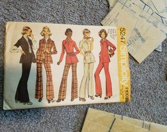 Simplicity Pattern # 5247 @1972  Partially uncut, pieces  H, K L ( the pants) the rest is cut