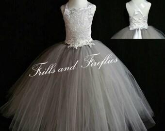Grey Corset Flower Girl Dress / Silver Grey Bridesmaid Dress / Prom Dress / Formal Dress / Princess Dress / Girls Dresses / Wedding Dress