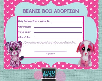 Adoption certificate etsy beanie boo adoption certificate 8 12 x 11 5 x7 yadclub Images