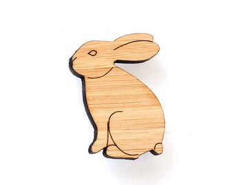 Rabbit brooch - wooden animal jewellery - Rabbit jewelry - bunny