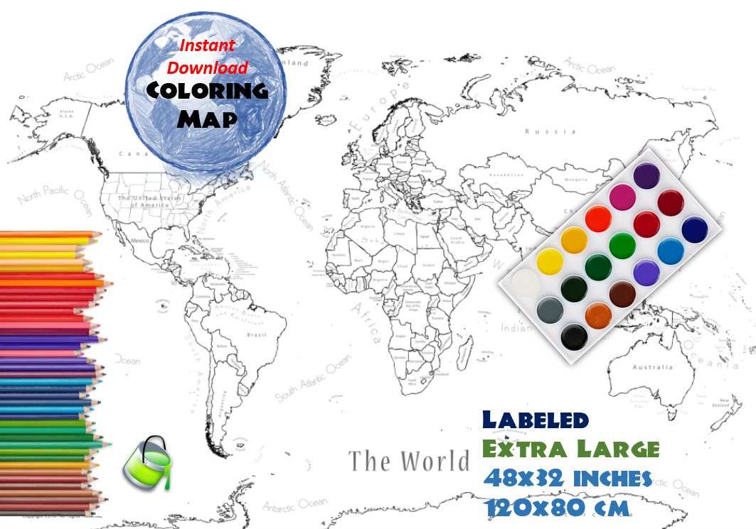 Coloring page world map labeled extra large 48x32 inch and 120x80 this is a digital file gumiabroncs Gallery