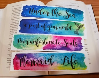 A Part Of Your World Mermaid Watercolor Bookmark, Fairytale Bookmark