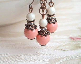 Coral Pearl Bridesmaid Jewelry Set Rustic Bridesmaid Gift Swarovski Pearl Jewelry Necklace Earrings Coral Ivory Jewelry Beach Wedding Party