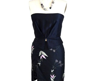 Silk Skirt, Black Silk Skirt, Pencil Skirt, Embellished Skirt, Boho Couture, Elegant, Classic with a Twist, Rosalba Valentino Couture, OOAK