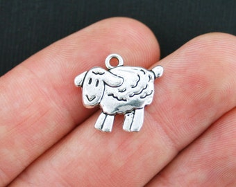 BULK 40 Sheep Charms Antique Silver Tone 2 Sided Lamb - SC3821