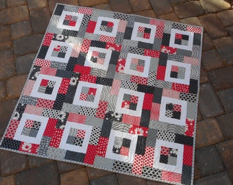 Baby Quilt--Black/Grey/Red--Moda Weeds fabric