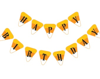 Halloween Candy Corn Happy Birthday Party Banner DIY Instant Download Printable