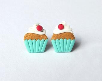 Polymer Clay Earrings, Miniature Food Earrings, Girls Earrings, Mint Earrings, Cupcake Earrings, Kawaii Earrings, Cute Earrings, Girls Gifts