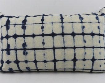 "Tie Dye Indigo Lumbar Pillower Cover by Shibori Technic from 100% Cotton 12"" x 20""  Indigo Blue Pillow, Vintage Look, 74"