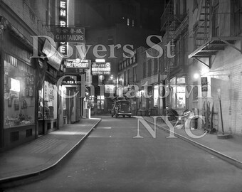 Original Fine Art Large Format 25x20 Photograph Doyers St Chinatown NYC Americana c.1935 From Original Vintage 4x5 Negative.Tong Gangsters