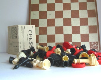 Vintage Checkers  Game, Vintage Chess Set, Vintage Board Games, Travel Games for Kids, Travel Games for Adults, Wooden Board Game, Hasbro