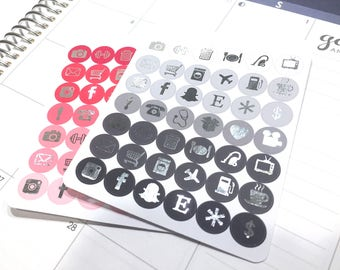 Foil icon stickers Foiled planner stickers gold and silver foil stickers