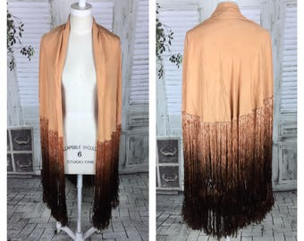 Original 1920s Vintage Circular Peach Pink Silk Shawl With Enormous Ombre Fringe