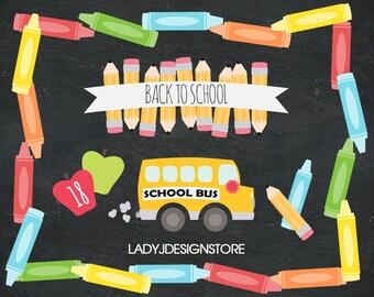 Back to School Clip Art - Crayon Clip Art - School Days Clip Art, crayons, pencil, school bus, appels, school rules, banners, borders