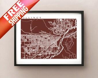 Billings, MT Map Print