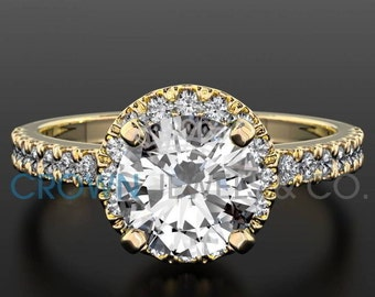 Ladies Engagement Ring 1.3 ct Round Brilliant Cut Diamond F VS2 Solitaire With Accents Wedding Ring In Yellow Gold Setting