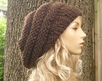 Knit Hat Womens Hat Slouchy Beanie - Oversized Beehive Beret Hat Wood Brown Knit Hat - Brown Beret Brown Beanie Brown Hat