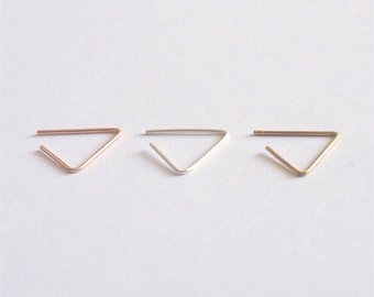 14k Open Gold Triangle Hoop Earring stud triangle earring minimal hoop earring thin earring geometric stud earring open earring design 0218