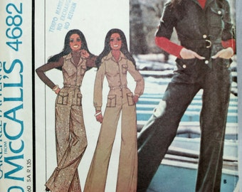 McCall's 4682 Misses Marlo Thomas Jumpsuit  Vintage Sewing Pattern  Size 6