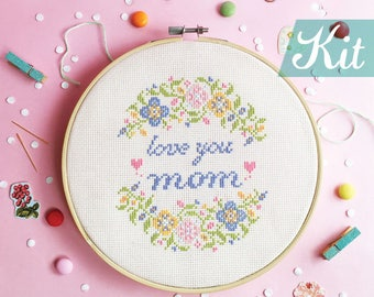 Gifts for mother from daughter,Cross stitch kits,Mothers day gift ideas,Mother cross stitch sampler,DIY kit - Love you mom/mum with flowers