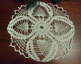 Beautiful Hand Crocheted Ruffled Tan Doily,  9 1/2 Inch Diameter
