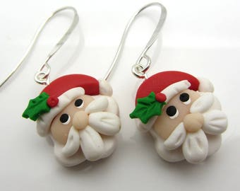 Christmas Santa Claus Earrings Polymer Clay Earrings Holiday Earrings Dangle Drop Earrings Beaded Earrings SRAJD