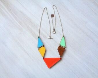 Geometric Necklace, Wood Triangles Necklace, Geometric Jewelry