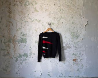 Vintage Black Sweater - 80s 1980s Black & Red Sweater -  Triangle Jumper - Small