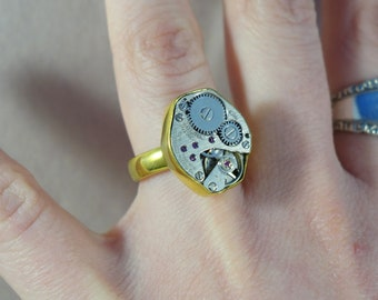 Vintage Wittnauer Watch Co. Jeweled Watch Steampunk Ring ~ Antique Watch Movement Ring, US Size 7